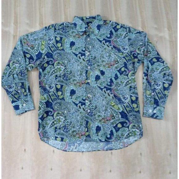 Alan Flusser Patterned Sz L Blue Floral Button up